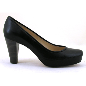 Nubia Soft Black Leather High Heel Court Shoe